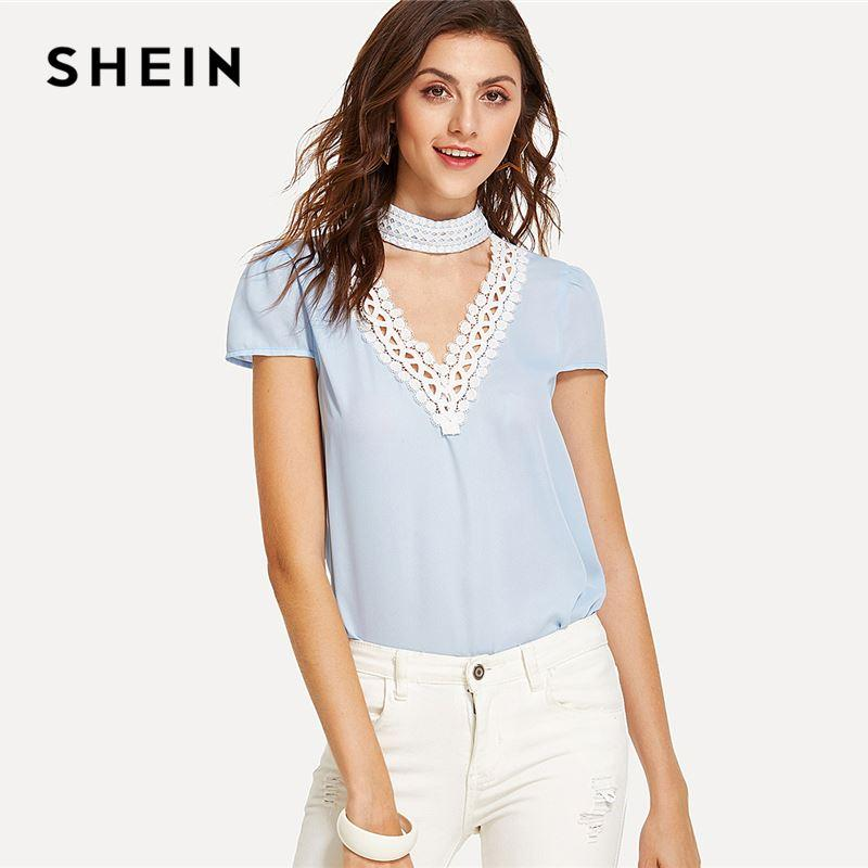 2bff2e45245f4 2019 Lace Detail Choker Neck Top 2018 Summer Stand Collar V Neck Cap Sleeve  Blouse Women Blue Cut Out Weekend Casual Blouse From Lin and zhang