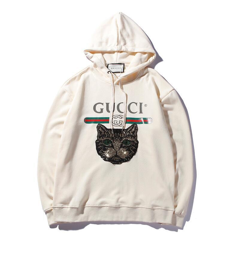 029db4d18667 2019 Cat Head Embroidered Hoodie Fashion Designer Hoodie 2018 Hot Men Women  Luxury Brand Hoodies Letter Print Man Sweatshirts Streetwear Hoodies From  ...