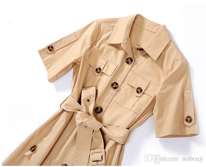 Vestidos de manga corta de algodón de color caqui con un solo pecho Cuello de solapa 2018 Nueva ropa de mujer Vestidos de estilo casual vestidos de estilo urbano es