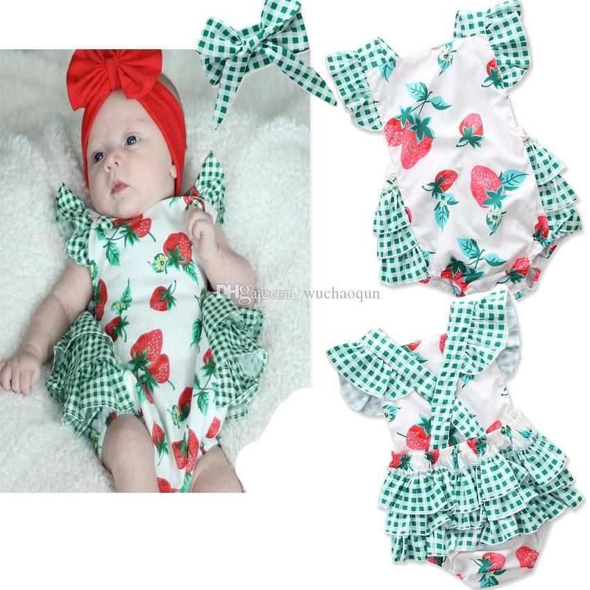c068d2542 2018 Summer New Style Baby Rompers Kids Newborn Lovely Strawberry ...