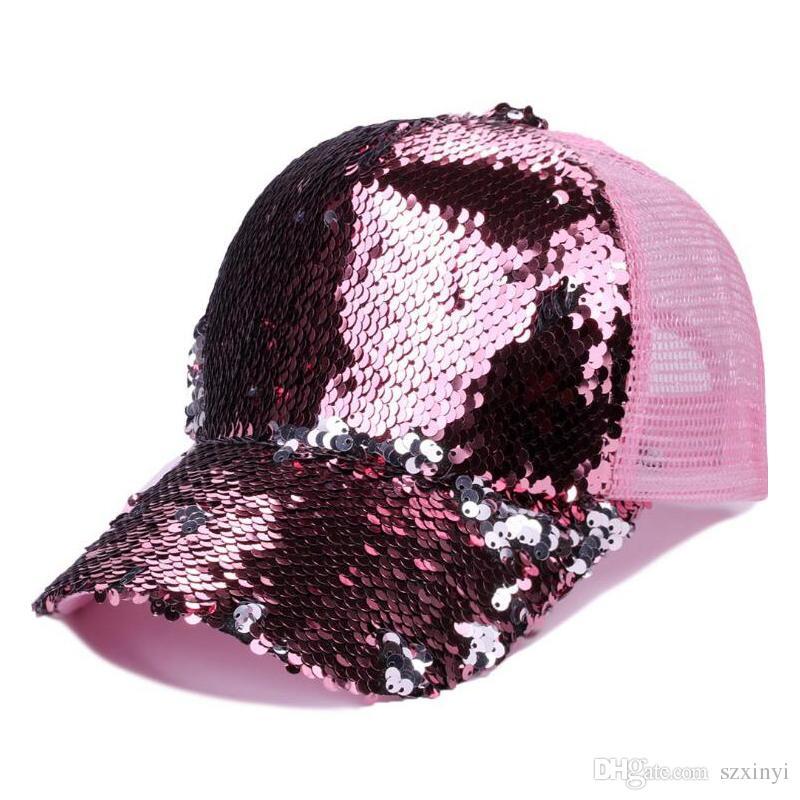 b1f3a3c3952 Sequins Baseball Cap Women Girls Adjustable Shinning Mesh Sun Hat Ponytail  Snapback Caps Adjustable Shinning Mesh Sun Hat Online with  3.66 Piece on  ...
