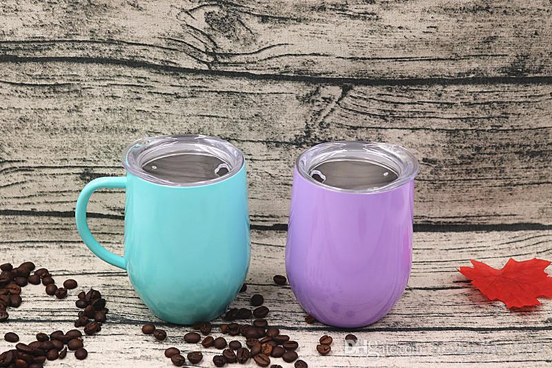 12oz Stainless Steel With handle Wine Cup Insulated Egg shape drinking Mug Cup thermal insulation Beer Drinking Cup Mugs Lid outdoor c439