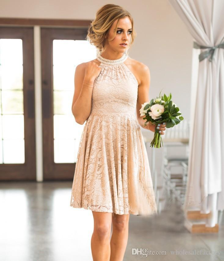 db574da7715 ... 2018 Halter Lace Knee Length A Line Country Bridesmaid Dresses Beaded  Short Wedding Guest Party Bridesmaids