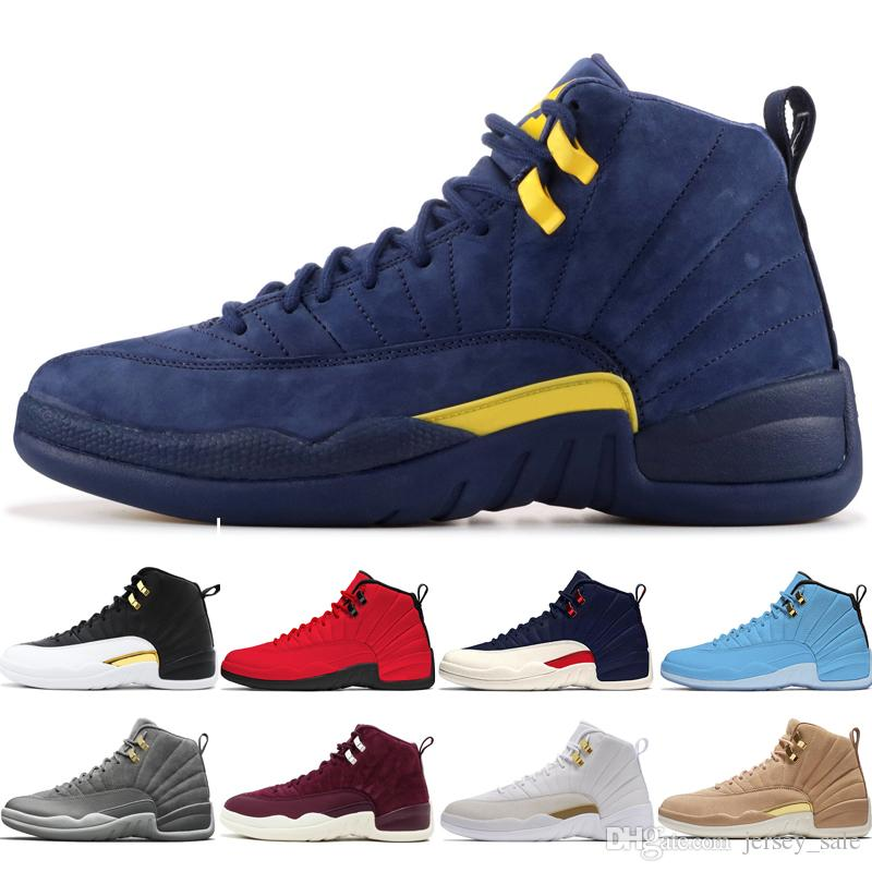 12 12s men basketball shoes Michigan Bulls College Navy UNC NYC Vachetta Tan Wheat Dark Grey Bordeaux Wings Flu Game mens Sports sneakers