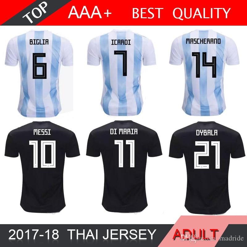 a31c2ef66 2019 MESSI 2018 World Cup Argentina Away Jersey Argentina DYBALA DI MARIA  AGUERO HIGUAIN Soccer Shirt Home National Team Football Jersey From  Madride