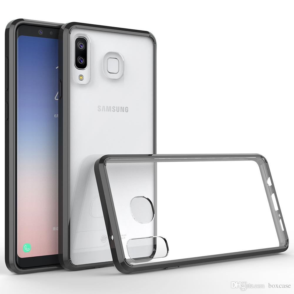 new styles 9ac0b a0a95 Acrylic TPU Hard Transparent Back Cover Case for Samsung Galaxy A8 A9 Star  J4 J6 J3 J7 2018 Note 9 Shockproof Clear Shell Skin