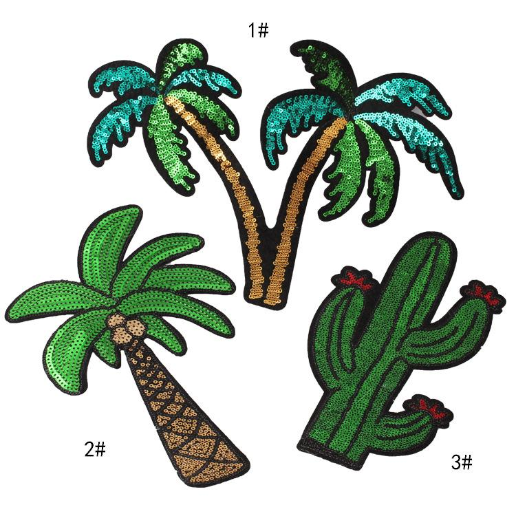 embroidery sequined cactus patches for jackets,embroidered cactus badges appliques for jeans,large patches for clothing A117