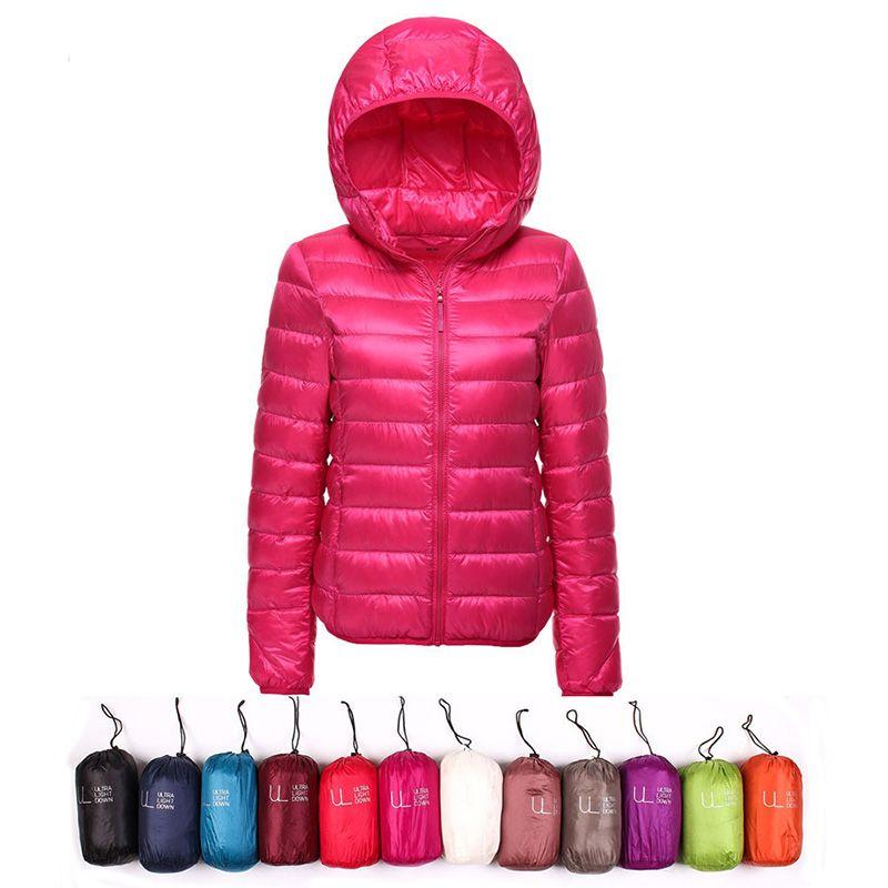 3346af0a0 Winter Jacket Women Ultra Light Down Jacket Women Hooded Coat 90% Duck Down  Jacket Packable Thin Feather Short Parka