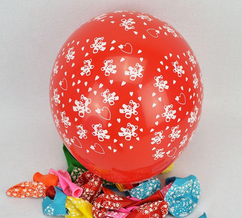 12 inch Creative Good Quality Mixed Color Ballons Small Bear Printed Latex Balloons Party Cartoon Balloon Toys Free Samples