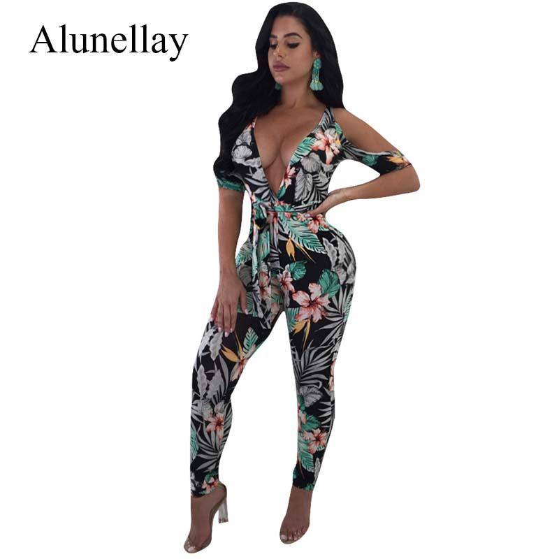 cbda60c62df2 2019 Alunellay 2018 Floral Printed Jumpsuits Women Sexy Cold Shoulder Deep  V Neck Half Sleeve Bohemian Rompers Casual Slim Jumpsuit From Burtom