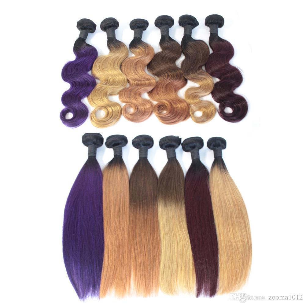 Ombre Reine Haarbündel Brasilianische Körperwelle Menschliche Haarwebart Two Tone Schuss 1B Braun Bloned Rot Blau Lila Peruanische Günstige Ombre Haar