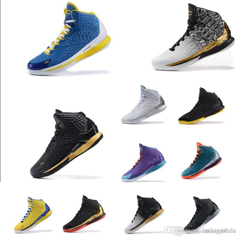 bee85d536923 Cheap UA Men Curry 1 Basketball Shoes MVP Championship Gold Black ...