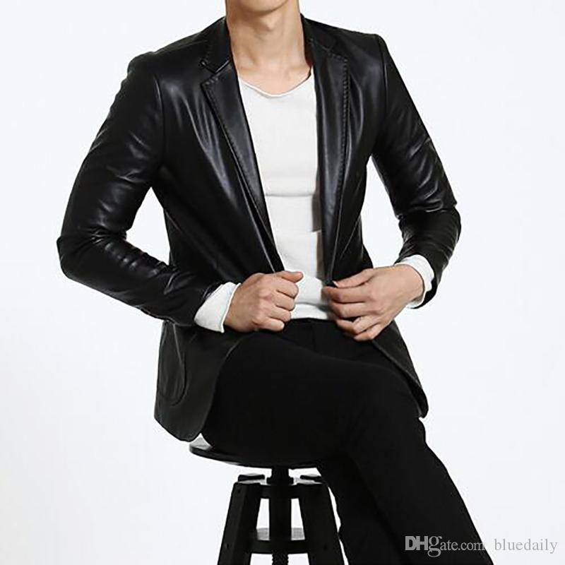 New Autum Winter Men Leather Jacket Coat Formal Male Leather Blazer Casual Turn-down Collar Blazer for Men