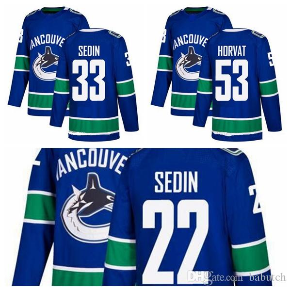 2018 New AD Vancouver Canucks Hockey Jerseys 22 Daniel Sedin 33 ... feb29dd11