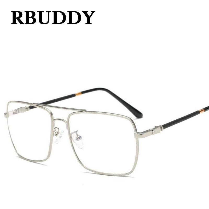 19ee34f652bc 2019 RBUDDY Square Clear Glasses Men Women Fashion Glasses Frame Metal Big  Clear Lens Transparent Optical Computer From Huazu
