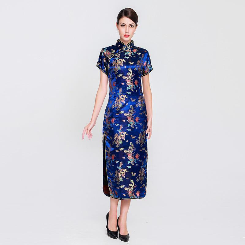2c8ead8a9 2019 Women New Rayon Slim Long Qipao Chinese Style Dress Elegant Mandarin  Collar Cheongsam Female Vintage Vestidos Large Size 6XL From  Qualityclothes, ...