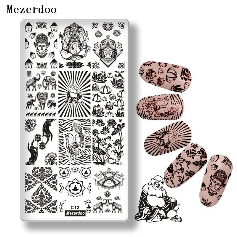 Großhandel Mezerdoo Buddha Thema Edelstahl Nagel Stempel Platten Diy