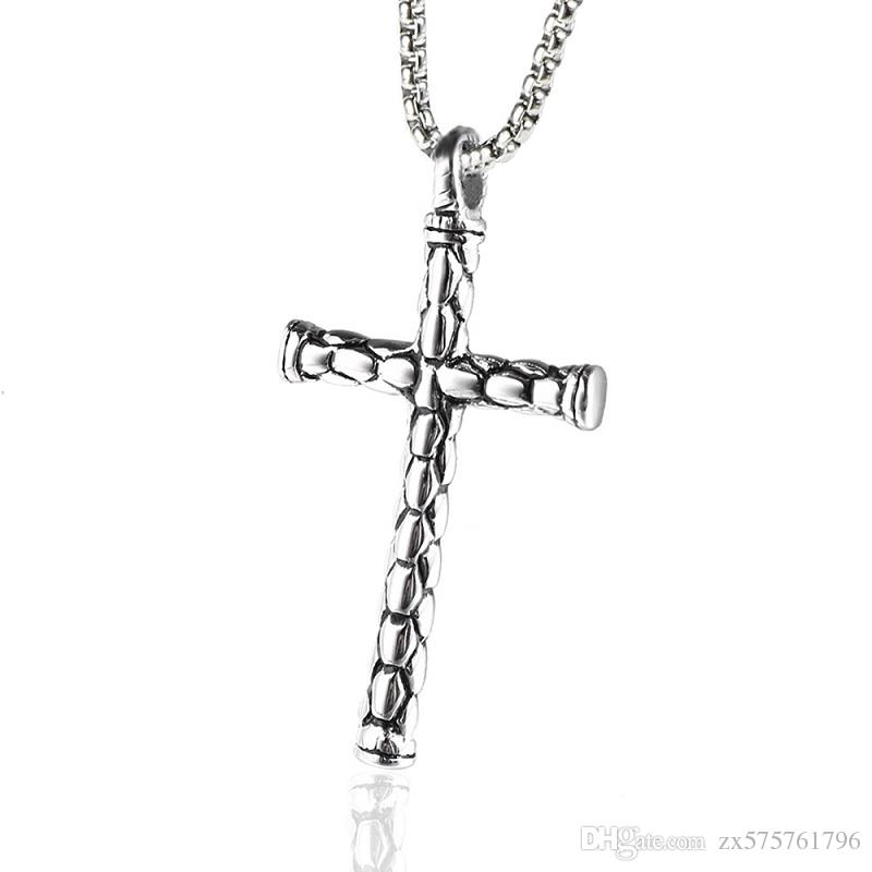 Fashion Men Charm Stainless Steel Cross Pendant Necklaces Punk High Quality Jewelry Design For Men 60cm Long Chain