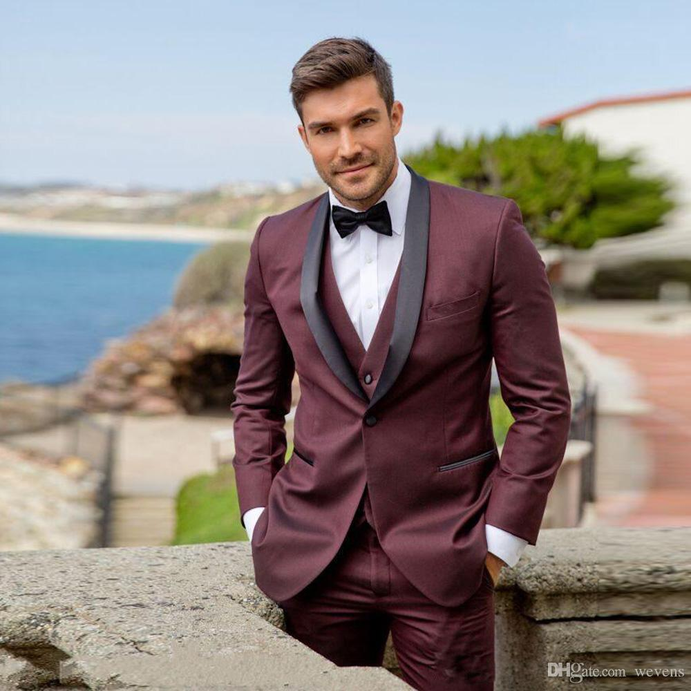 Burgundy Slim Fit Men's Tuxedos Three Piece Suit One Button Black Shawl Lapel Groomsmen Jacket+Vest+Pant+Bow Tie