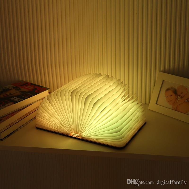 USB Rechargeable Wooden Folding LED Night Light Reading Book Light 500 Lumens Desk Lamp Red/Blue/Green/Warm White Light Table Lamps