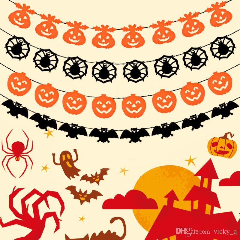 Нетканые тыквы Летучая Мышь Паук оранжевый и черный баннер гирлянда украшения для Хэллоуин Party Club фестиваль украшения поставки