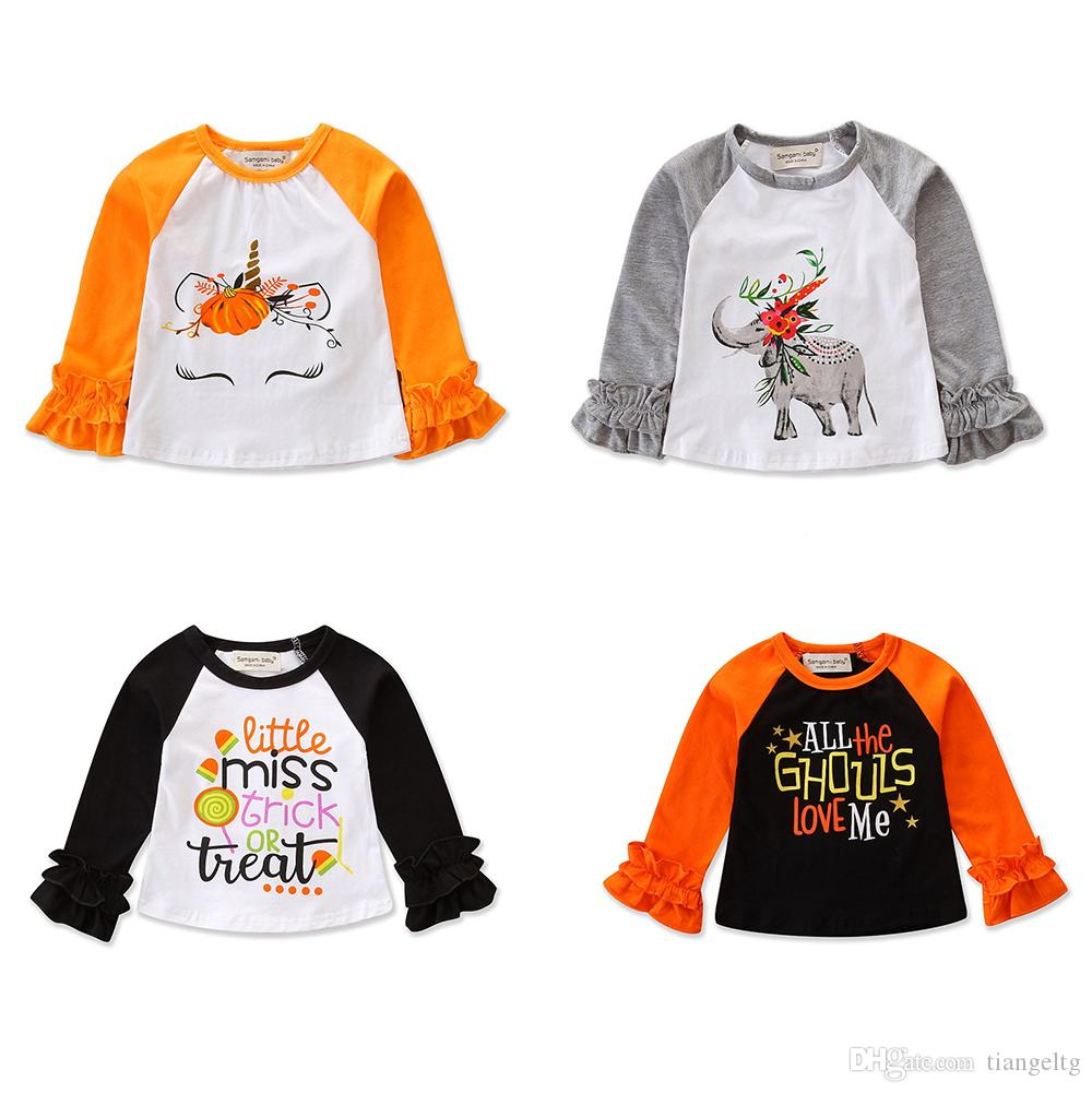cdaa151b 2019 Baby Girls Halloween Shirts Pagoda Long Sleeve Ruffle Unicorn Elephant  Pumpkin Witch Trick Treat Bat Letter Printed Patchwork Designer Tops From  ...