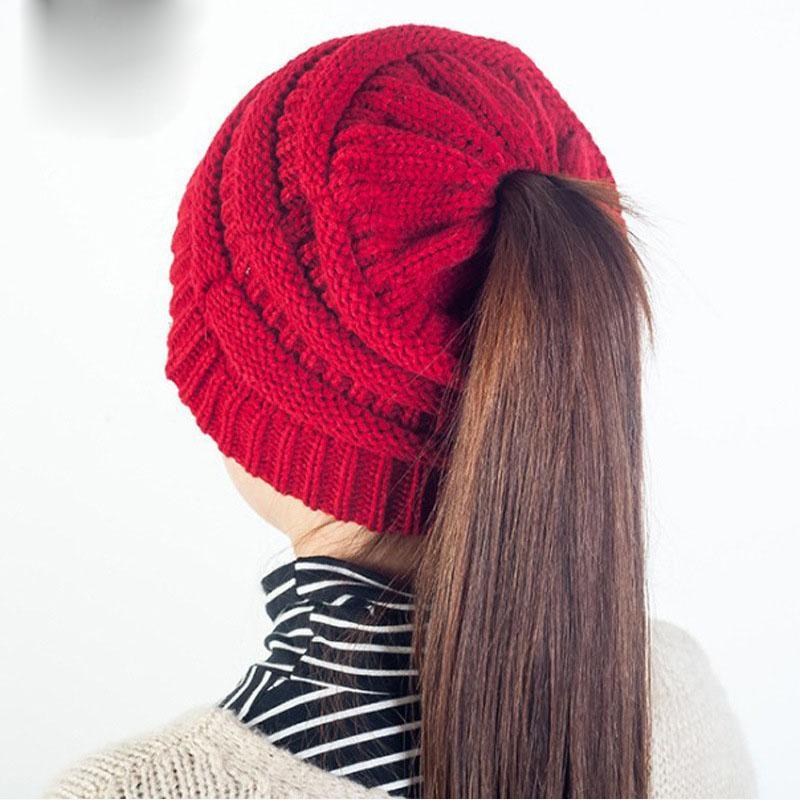 Großhandel Damenmode Pferdeschwanz Beanie Winter Hüte Für Frauen