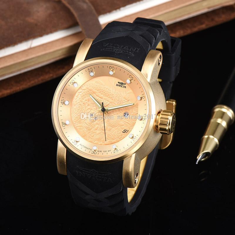 a27313082d2 Compre Invicta Relógios Dragão Projeto Relogio Invicta Homens Relógio  Grande Mostrador De Silicone Pulseira De Relógio De Pulso De Quartzo Marca  Relojes ...