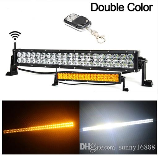 22 Inch 120w Led Light Bar Wireless Remote Control Amberwhite Work