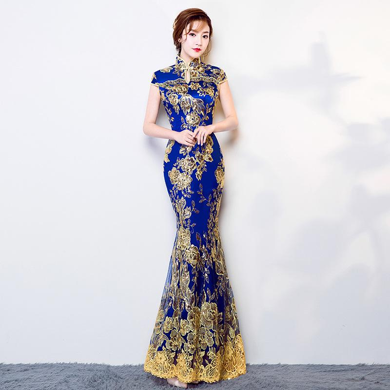 bc02022356 Blue Wedding Party Cheongsam Oriental Evening Dress Chinese Traditional  Womens Elegant Qipao Sexy Lace Long Robe Retro Vestido