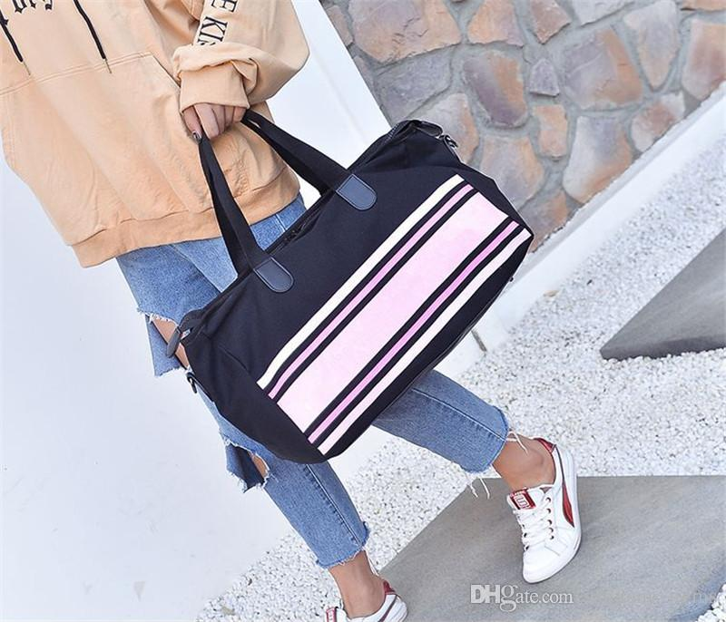 d80792748 2019 Duffle Bag Stripe Canvas Women Shoulder Bags Handbag Tote Bags ...