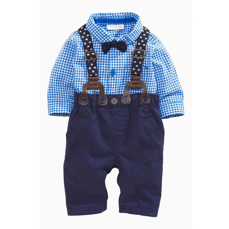 2018 New Arrival Boys Clothing Set Children Grid Shirt with Bow and Suspender Trousers Suit Fashion Kids 2-Piece Outfit