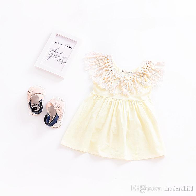 2018 summer new design baby girl tassel princess party dress kids off shoulder soft cotton frock designs