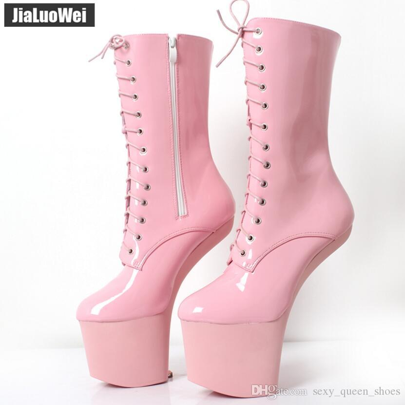 20cm Funtasma Sexy Fetish Patent leather Women Hoof Pony Heel Platform Half Boots Halloween Man Ballet boot Pink cosplay shoes goth vamp