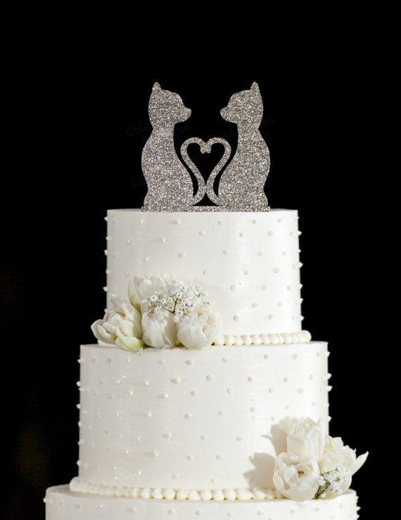 Grosshandel Glitter Silber Hochzeitstorte Topper Katzen In Love Tails