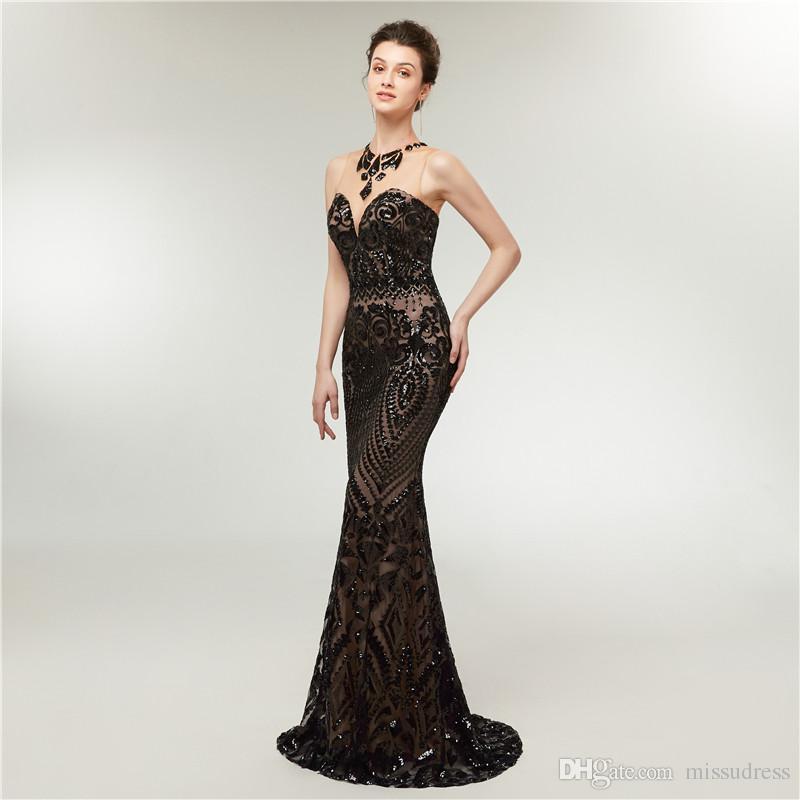 Vestidos de fiesta sirena negro lentejuelas vestidos largos de lujo de la tarde noche 2018 vestido de gala túnicas de soirée