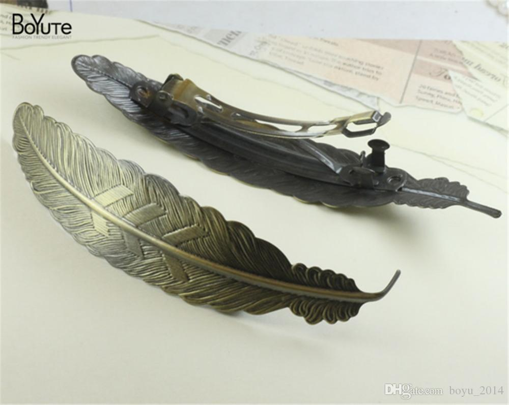 BoYuTe 110* 23 MM Big Feather Hair Clip Wholesale Plated Women Hairpin