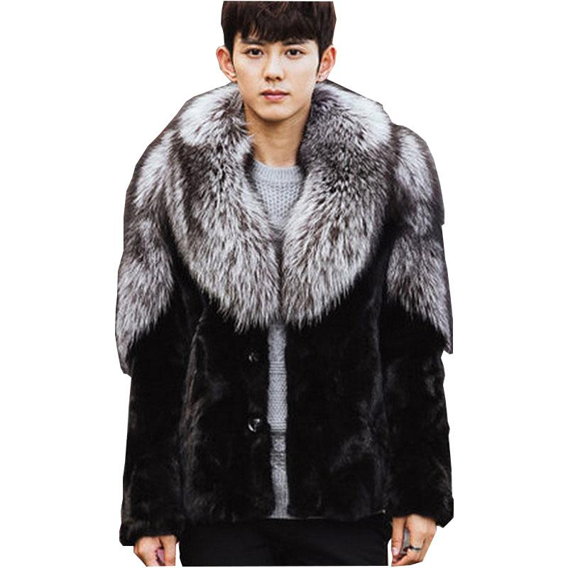 5c2f86cc3 2019 Men New Winter Black Fashion Luxury Faux Fur Coat Fox Fur Turn Down  Collar Full Coats Men Jacket Size S 5XL From Kennethy, $152.07 | DHgate.Com