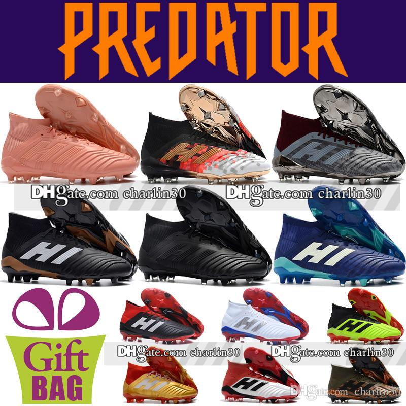 2018 New Laceless Soccer Boots Predator 18+ FG Football Shoes Outdoor Leather Green Orange Black Predator 18 Football Boots Soccer Cleats