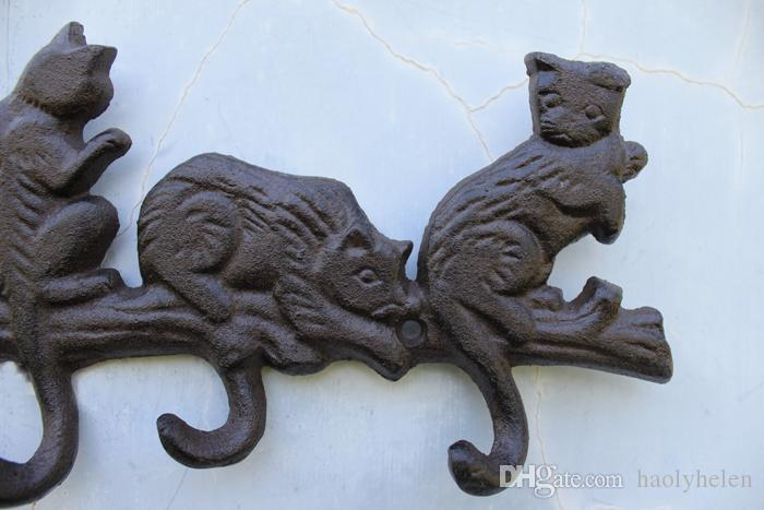 Cast Iron Decorative 5 Cats Coat Rack with 5 Hooks Key Hanger Holder Hanging Wall Decor Porch Cabin Lodge Antique Vintage Brown