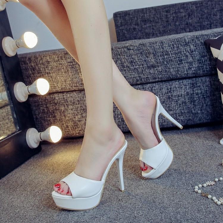 eb2f36a25a1 Compre Mujer Zapatillas Zapatos Sandalias 2018 Discoteca Sexy Catwalk  Modelos Zapatos Zapatillas Plataforma Sandalia Tacón Alto 12 CM Verano Mujer  Bomba A ...