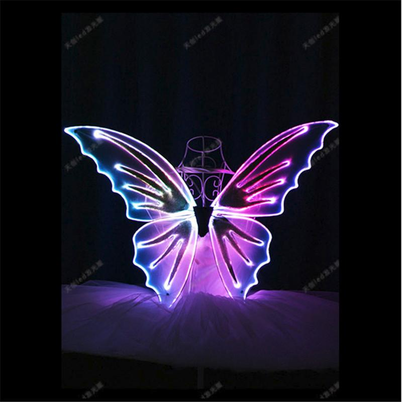 TC-171A LED costumes RGB light colorful Butterfly wings led full color ballroom stage light costumes belly dance luminous wears performance