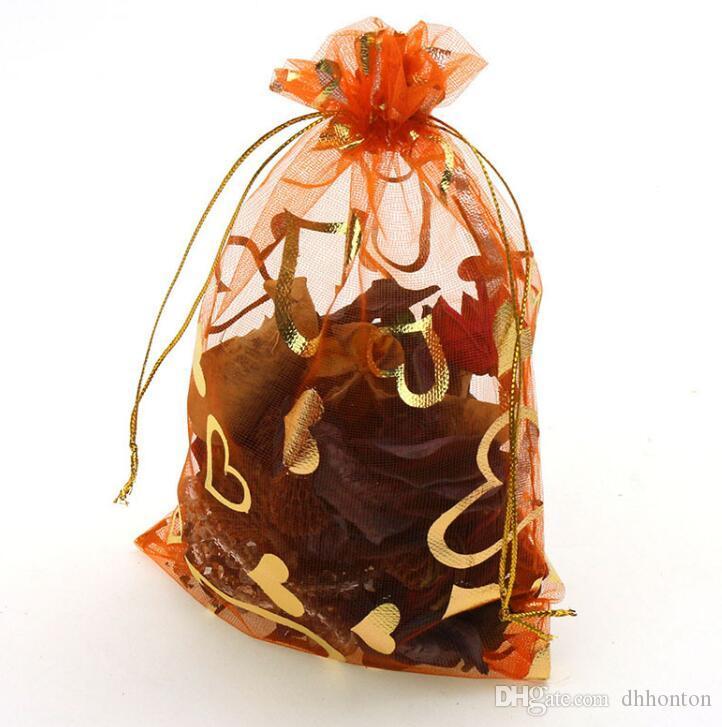 오간자 웨딩 창조적 거즈 가방 7x9cm 오렌지 복숭아 심장 랩 가방 WQ26를 선택할 수있는 많은 색상