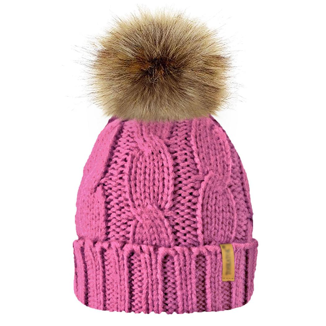 Fashion Women Baby Boy Girl Chunky Soft Pompom Knitted Cap Winter Warm Crochet Fleece Lined Beanie Hat Detachable Ball Caps Hats