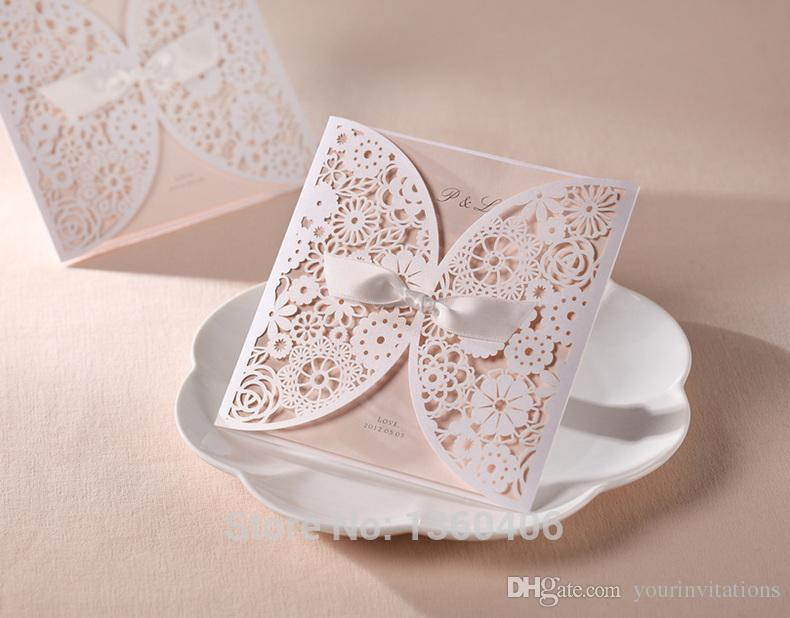 White Laser Wedding Invitation Card Cut Cover Elegant Flowers With