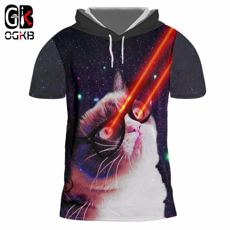 b2c1f9496 Compre OGKB Mens Flash Light Gato Com Capuz Camisa Impressão 3D Galaxy  Espaço Casual Cap T Shirt Casuais De Manga Curta Com Capuz Treino Tamanho  Grande De ...