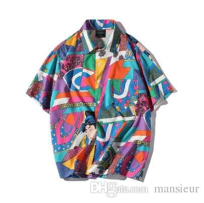 d203756e 2019 AELFRIC Short Sleeve Shirt Men Hip Hop Japanese Streetwear Silk Ukiyoe  Casual Shirt 2018 Man Summer Fashion Hawaiian Shirts HE01 From Mansieur, ...