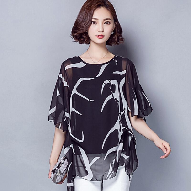 27260c6a49 2018 Women New Blouse Shirts Ruffle Loose Print Flare Sleeve Chiffon Blouses  Lady Casual Female Tops Clothing Blusas Plus Size Online with  36.16 Piece  on ...