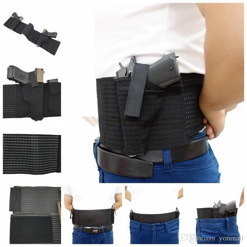 Mesh Elastic Breathable Concealed Carry Belly Band Holster with Mag Slot  Dual Gun Holster for Carry 2 Pistols