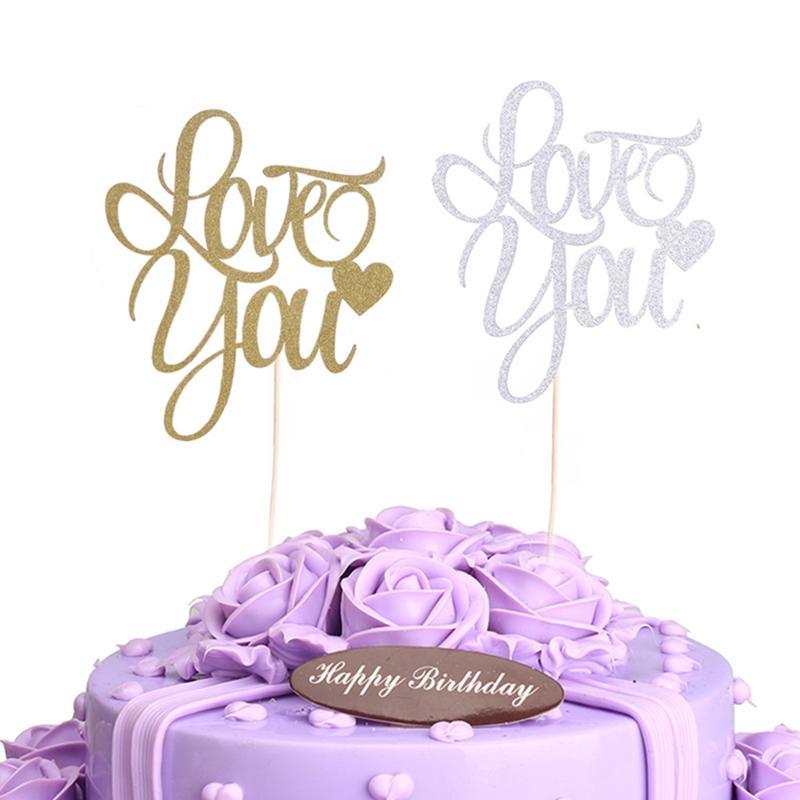 2019 Multicolor Love You Cupcake Cake Topper Glitter Happy Birthday